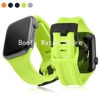 Correa de silicona blanda para reloj inteligente, pulsera deportiva de 44, 40, 38 y 42mm para Apple Watch serie 5/4/3/SE/6
