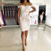 Luxury Full Lace cocktail dress for women 2020 off the Shoulder Mermaid Short Homecoming Party Gowns