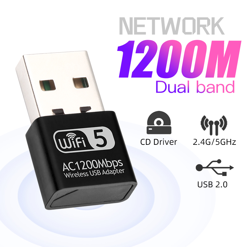 1200Mbps Mini USB Wifi Adapter Network Lan Card  For PC Wifi Dongle Dual Band 2.4G&5G Wireless Wi-Fi Receiver Desktop Laptop 1
