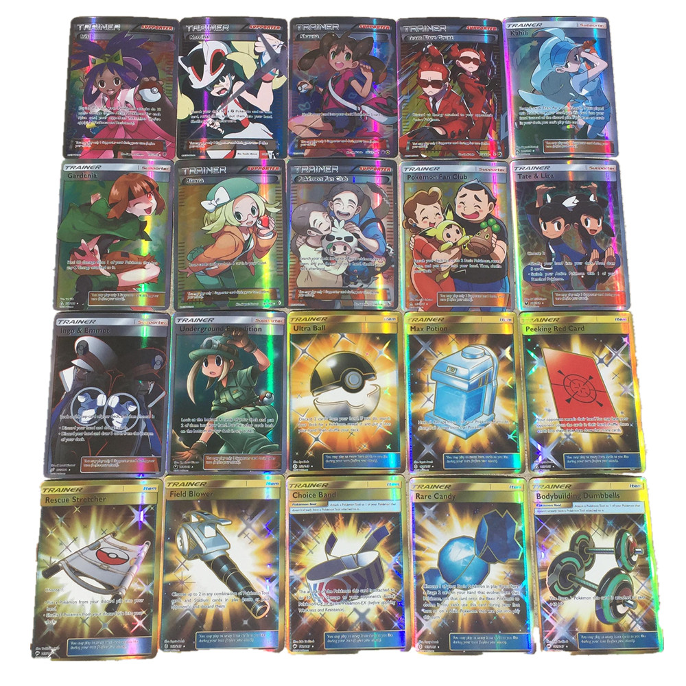 100 pcs 92TrainerX8SProps Bright Cards Battle Card Game Trading Cards Letters Toy For Children Pokemon Cards image