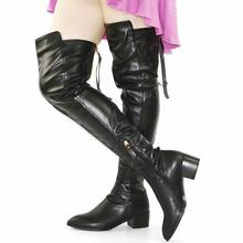 NAYIDUYUN 2017 Fashion Womens Leather Point Toe Thigh High Boots Over Knee Low Heel Oxfords Riding Tall  Shaft Warm Shoes