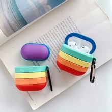 Cover Headphone-Case Airpods Rainbow-Pattern Protection Silicone for 2-case/Fashion/Gradient/..