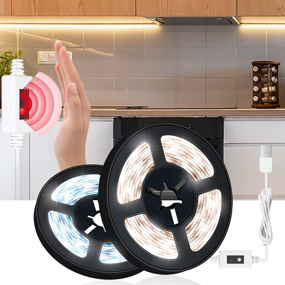 Сенсор светодиодный светильник полосы ручная развертка Сенсор движения Сенсор переключатель и затемнения USB DC 5V лампы для Кухня Спальня Ва...