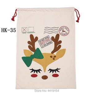 Image 5 - 50pcs/lot Large Santa Sacks Drawstring Christmas Sacks 38 Styles Christmas Canvas Sack Kids Gift Bag Candy Cane Bag Wholesale