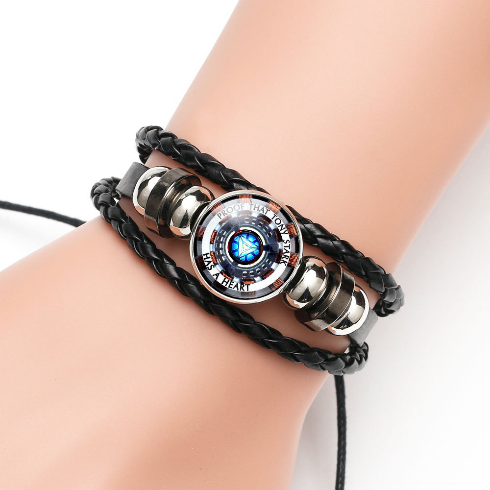 Cosplay Iron Man Tony Stark Leather Bracelet The Avengers Iron Man Arc Reactor 3D Printed Glass Gem Charm Bracelet Bangles