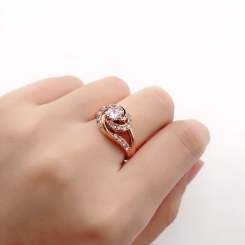 Fashion Rose Gold Diamond Rings For Women  Engagement Party Ring AAA White Zircon Cubic Rings Wedding Bands Jewelry Gift 2