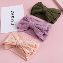 Infant Baby Girl Headband Soft Nylon Bow Headbands Elastic Hair Bands Cable Knitting Wide Turban Baby Children Hair Accessories