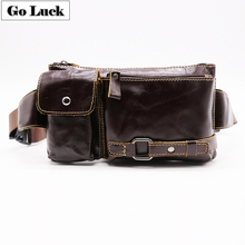цены  Vintage Genuine Cow Leather Casual Travel Bag Men's Waist Belt Bag Fanny Crossbody Shoulder Bags Pack For Mobile Phone