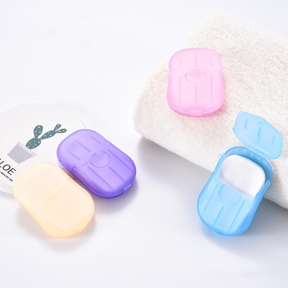 20Pcs Disposable Washing Hand Bath Soap Sheets Portable Mini Outdoor Travel Foaming Soap Disinfecting Paper Soap