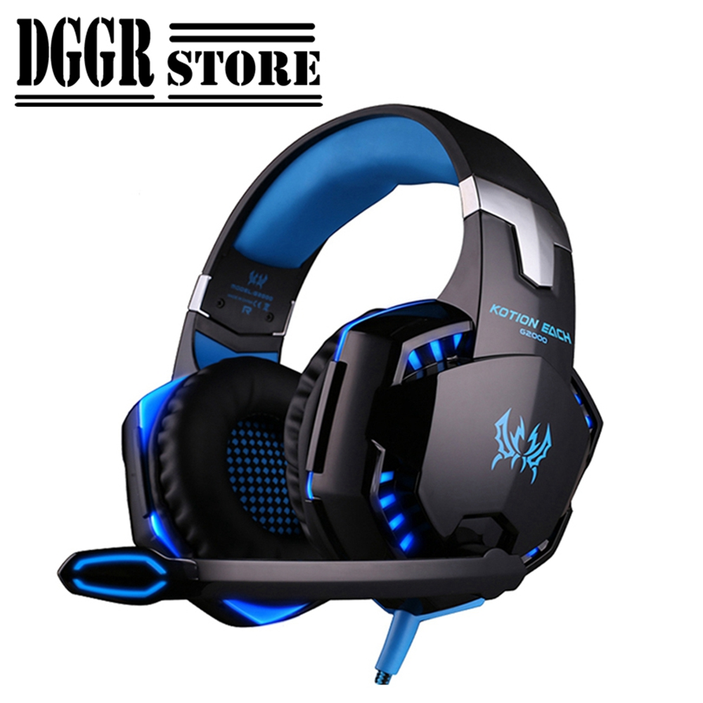 KOTION EACH G2000 Stereo Gaming Headset Bass Headphones For Computer Lights Deep Bass Gamer Earphone With Mic Or Mice Mouse Pads