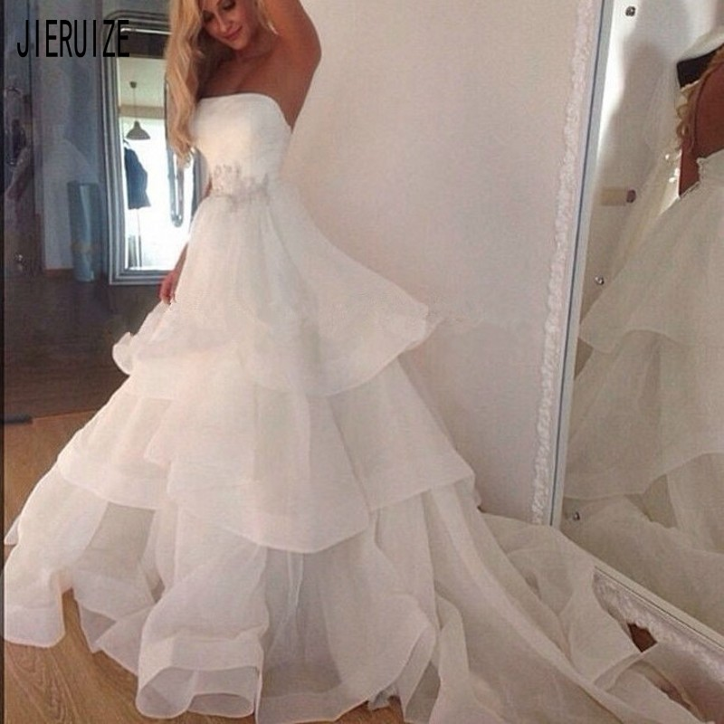 JIERUIZE Simple Organza Beach Wedding Dresses Strapless Neck Backless Tiered Ruffles Appliques Wedding Gowns Robe De Mariee