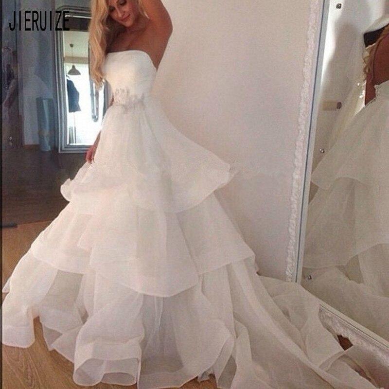 JIERUIZE Simple Organza Beach Wedding Dresses Strapless Neck Backless Tiered Ruffles Appliques Wedding Gowns Robe De Mariee
