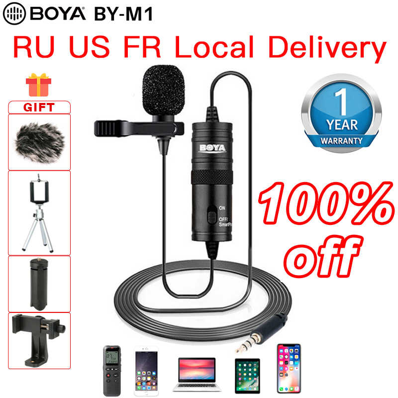BOYA BY-M1 3.5mm mikrofon krawatowy wideo Lavalier Lapel mikrofon do iPhone'a z systemem Android Mac clip microphone dla DSLR Camera kamery rejestrator microphone mini jack