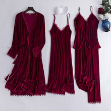 Sleepwear Sexy Pajamas-Set Kimono Velour Women Lingerie Casual Autumn 4PCS Solid Soft