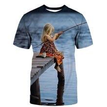 Новинка 2020 Мужская футболка для рыбалки и маленькой девочки