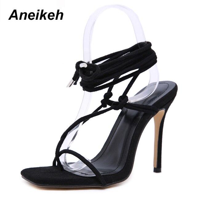 Aneikeh kobiety buty sandały gladiatorki Peep Toe buty na cienkich wysokich obcasach sandały letnie sukienki na imprezę pasek krzyżowy sznurowane sandały pompy
