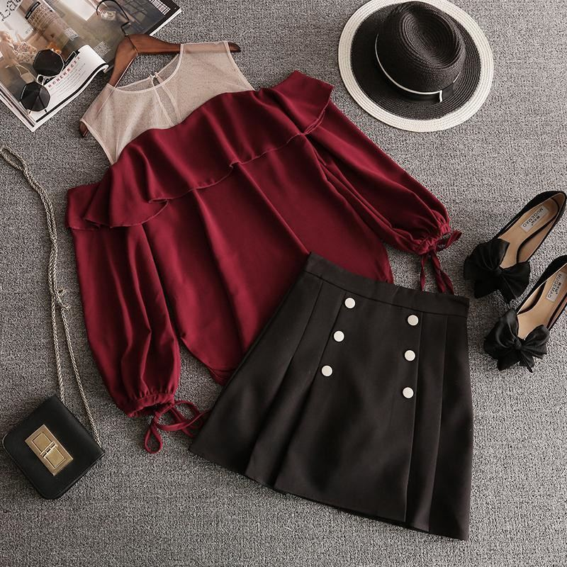 Ruffles Women Chiffon Mesh Off Shoulder Blood Red Top & High Waist Skirt 2