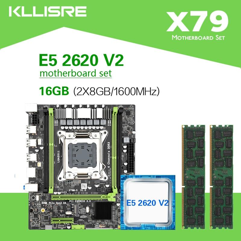 Kllisre X79 マザーボード Xeon で設定 LGA2011 E5 2620 V2 2 × 8 ギガバイト = 16  ギガバイト 1600MHz DDR3 ECC REG メモリ    グループ上の パソコン