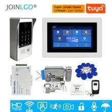 """Darmowa wysyłka WIFI IP 7 """"ekran dotykowy LCD wideo domofon do drzwi zestaw nagrywania kod klawiatura IC wodoodporna kamera zamek elektryczny"""