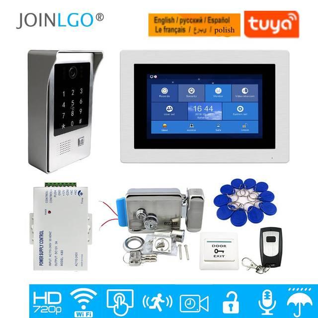 """Ücretsiz kargo WIFI IP 7 """"dokunmatik ekran LCD görüntülü interkom kapı telefonu kayıt kiti kod tuş takımı IC su geçirmez kamera elektrikli kilit"""