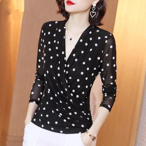 Decote em v Mulheres Primavera Verão Estilo Rendas Blusas Camisas Senhora Casual Polka Dot Impresso Tops Dd8051