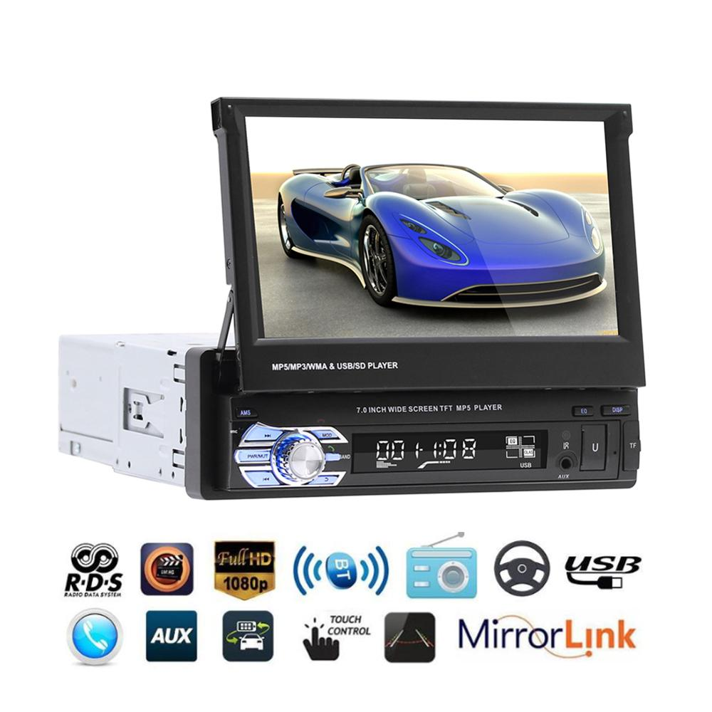 7'' Car Stereo 9160G Audio Radio GPS Navigation Retractable Autoradio with BT DVD MP5 SD FM USB Player Rear View Camera image