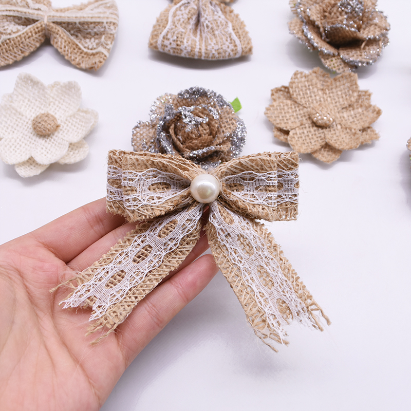 5pcs/lot Handmade Burlap Flowers Heads Vintage Hessian Bowknot Flower Rustic Wedding Party Decoration Centerpieces Roses Decor-1