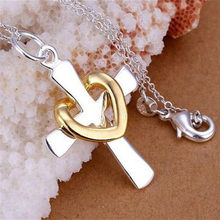 Fashion Chic Charm Women Ladies Cross Heart Pendant Chain Necklace Fine Jewelry(China)