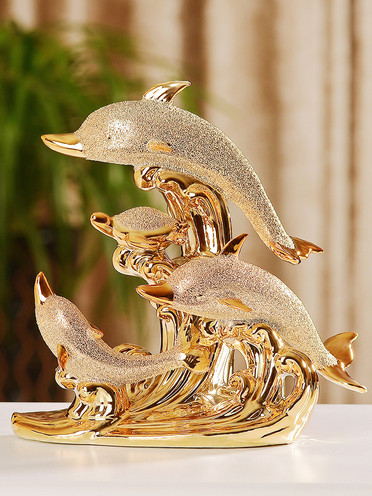 Creative Gold Dolphin Animal Home Accessories Decor Decorations Home Decore Home Decoration Accessories for Living Room