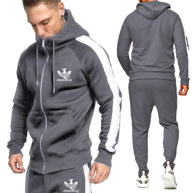 Men's Zipper Cardigan Sets Fashion Sportswear Tracksuits Sets Men's GYMS Hoodies+Pants Casual Outwear Suits Male Hoodies