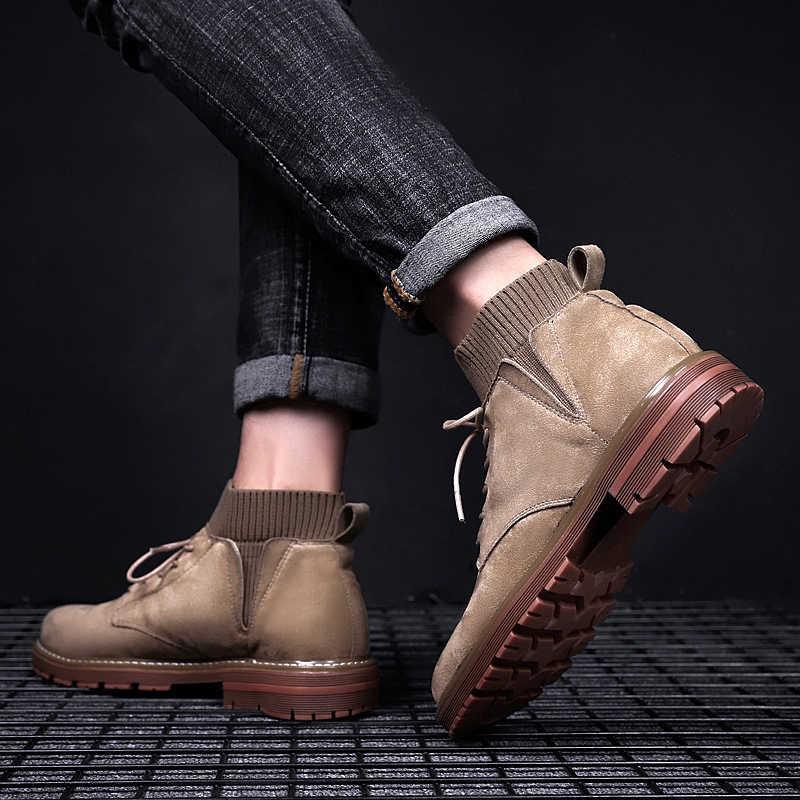 Брендовые мужские ботинки под платье; мужской на зиму и осень; Замшевые мужские ботильоны на шнуровке для вечеринок; дышащие мотоциклетные ботинки без застежки