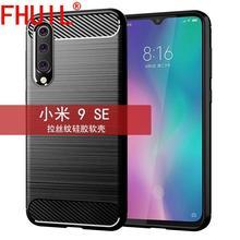 FHUIL Pure color Bumper Shockproof Case For Xiaomi MI 9 se Cover Protective Fundas Luxury Carbon Fiber mi 9 se TPU case brushed texture carbon fiber shockproof tpu case for xiaomi mi 8 se black