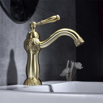 Basin Mixer Faucets Antique Brass Carved Basin Faucet Single Hole Tap Hot And Cold Water Mixer Taps Black Oil Sink Faucet Crane
