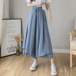 Casual Solid Color Wide Leg Pants Elastic High-waist Pleated Women's Pants Loose Flowing Summer Female Chiffon Trousers