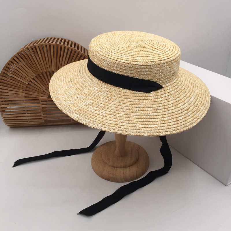 Natural Grass Straw Wide-brim Hats Female Seaside Holiday During Spring,summer Small Sweet Wind Sun Hat Is Prevented Bask