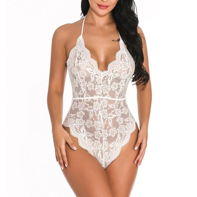 Sexy Women Lingerie Solid Lace Bodysuit
