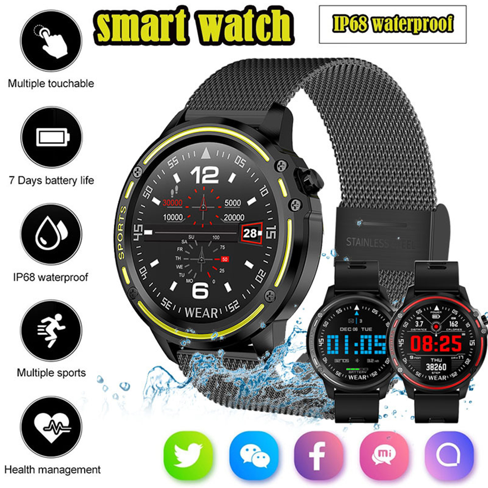 L8 IP68 Waterproof Women Men Heart Rate Smart Watch 1.22 Round Screen Music Remote Control Bracelet Smartwatch For Android IOS