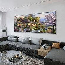 Huacan pintura diamante 5d cenário casa casa decoração ponto cruz mosaico casa bordado arte diamante