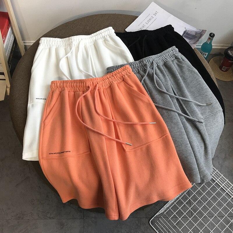 Women Pants & Capris Cotton Korean Loose Straight Sports Pants Summer Casual Beach Short Pants Letter Shorts Wide Leg Trousers