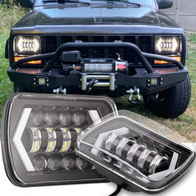 65W 7x6'' 5X7 LED Headlight Halo DRL For 86-95 Jeep Wrangler YJ Cherokee XJ Angel Eyes DRL H4 LED Square Headlights