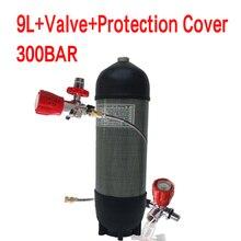 Acecare 9L CE Pcp HPA خزان 4500psi اسطوانة غاز ألياف الكربون للغوص خزان الهواء المضغوط بندقية الهواء Pcp كوندور صمام M18 * 1.5
