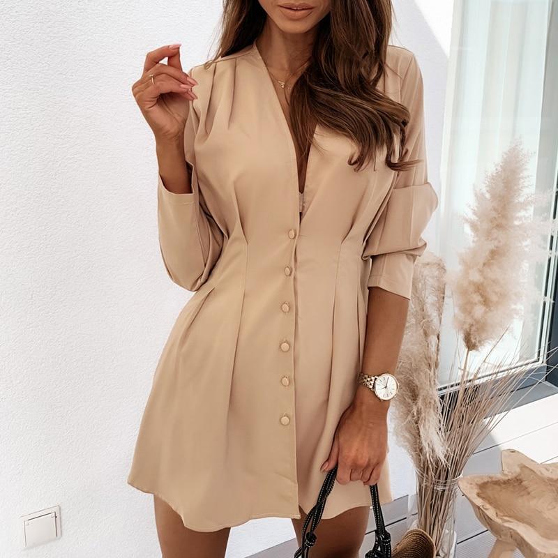 LISM Elegant Sexy V-neck Solid Autumn Dress women Casual Button Long Sleeve Short Mini Dress A-line Office Ladies Dresses 2020