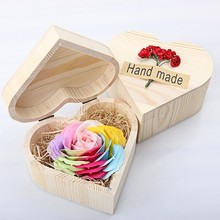 Hexagon/Heart-shaped wooden gift box soap flower rose eternal flower valentine's day Christmas gift to girlfriend/wife gifts