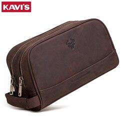 Kavis Koe Lederen Crazy Horse Cosmetische Tas Mannen Voor Man Make Sling O Handvatten Tote En Portemonnees Schouder Bolsas Hand tas Mode