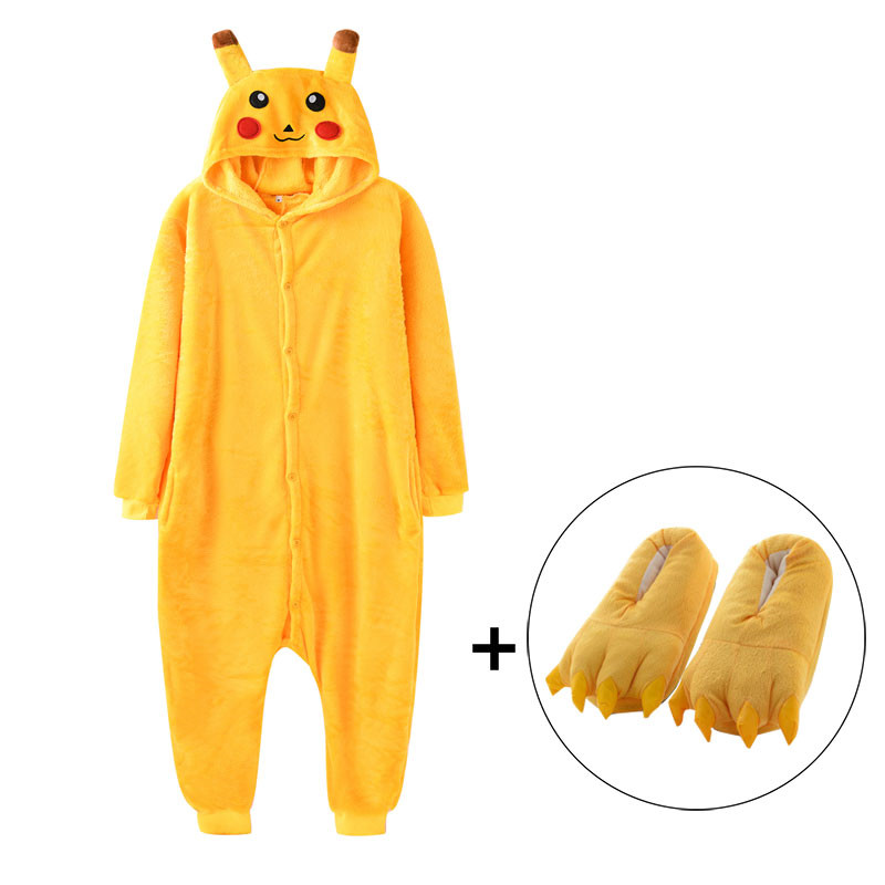 Pikachu Onesie With Shoes Kugurumi Adult Women Men Cute Animal Pajamas Suit Jumpsuit Carnival Party Fancy Dress Anime Outfit