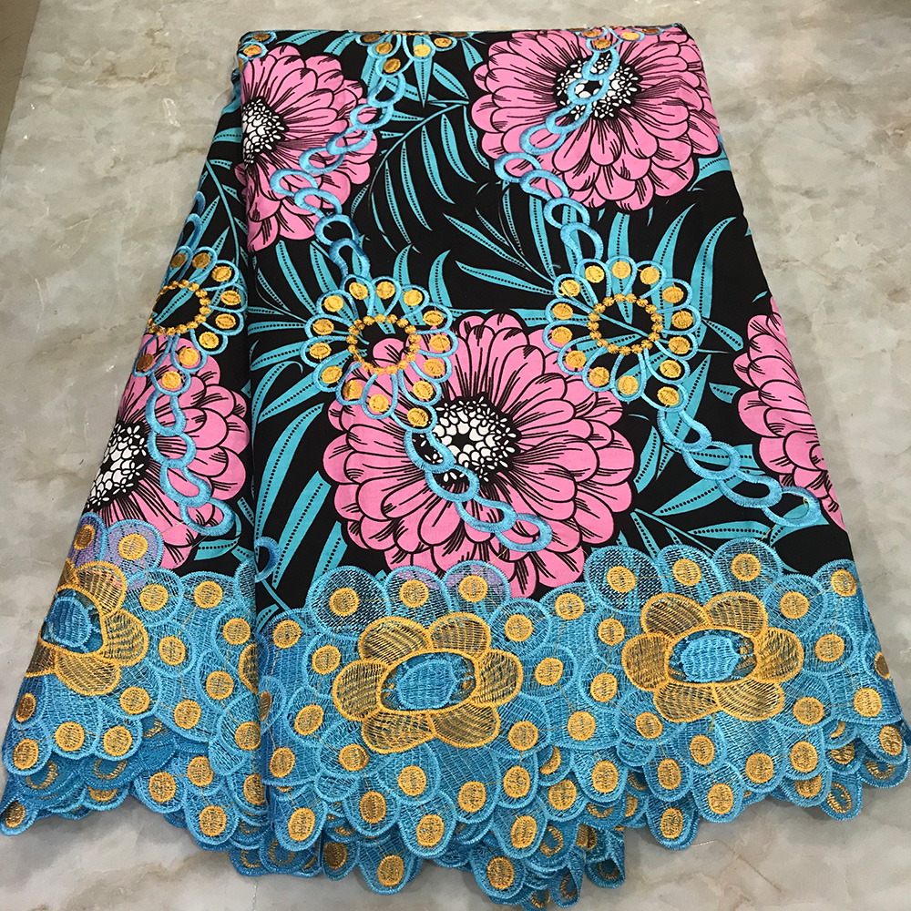 100% Cotton Pagne Super Wax Ankara Lace Wax African Embroidery Holland Wax With Lace Fabric 2019 New Dutch Prints Fabrics