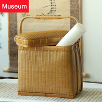 Bamboo Weaving Tea Set Accept Box Spirit Book Tea Chest Handbag Tea Box Chinese Style Modern Bamboo Package Accept Basket Zen