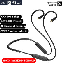 Aptx HD Qualcomm QCC3034 Bluetooth Earphone Upgrate Cable Wireless Cable Mmcx 0.78mm IE80 IM50 IE40PRO IM A2DC HiFi Audio Cable(China)