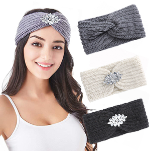 AWAYTR Rhinestone knotted Warm Headband Girls Knitting Headwraps Turban Head Wrap Bohemian Hairband Hair Accessories For Women