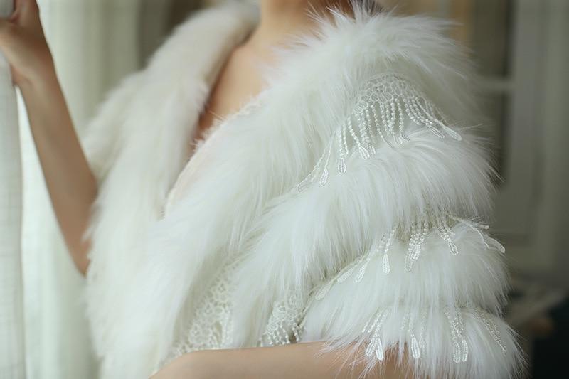 JaneVini, модное зимнее болеро из искусственного меха цвета слоновой кости, свадебная шаль, меховые Свадебные накидки, элегантный женский плащ, куртка для вечеринки